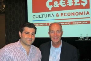 creative industries keynote speaker David Parrish at the Cultural Economy conference in creative city Santiago de Chile after speaking about creative business models