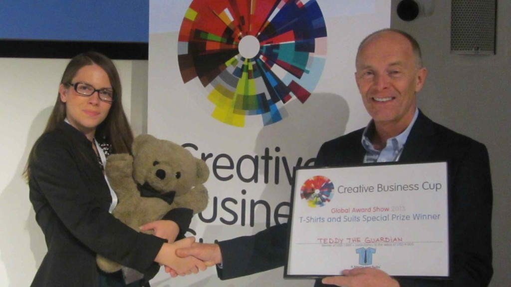 Creative Business Cup. Ana Burica of Teddy the Guardian with David Parrish of T-Shirts and Suits