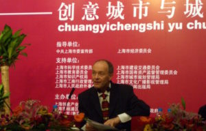 David Parrish speaking at creative industry conference in Shanghai, China