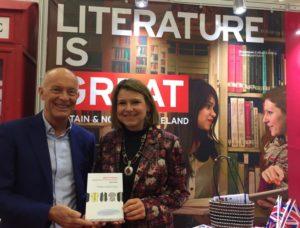 David Parrish with British Ambassador Fionna Gibb at the Minsk Book Fair, Belarus.