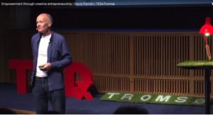 creative industries keynote speaker David Parrish speaking at TEDx Tromsø on empowerment through creative entreprenuership for creative enterprises including startups in Norway