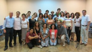 David Parrish international creative industries speaker and consultant with workshop participants in Brazil