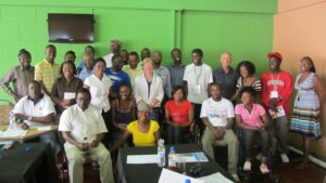 David Parrish, creative industries expert, with creative economy workshop participants in Bulawayo, Zimbabwe