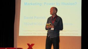 David Parrish international creative industries speaker and TED speaker at his TEDx talk at TEDxENCGJ, El Jadida, Morocco