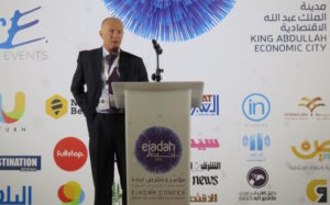 Creative Economy speaker David Parrish delivers keynote at at Ejadah Confex, Saudi Arabia