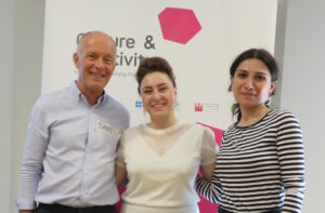 David Parrish, Sevinj Aghazada and Shorena Lortkipanidze at cultural enterprise workshop
