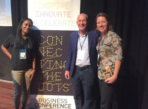 Fiona Curie, David Parrish and Eloise van Wickeren at the Connecting the Dots event in Curacao