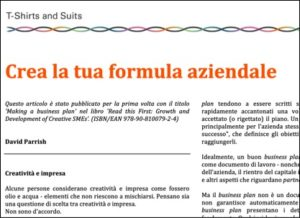 Creative Business Article published in Italian