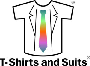 T-Shirts and Suits logo with text
